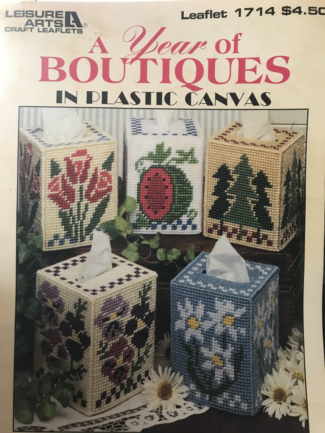 A year of Boutiques in Plastic Canvas Designed by Polly Carbonari Leisure Arts 1714