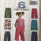 Butterick Sewing Pattern B4845 Girl's Pants Capris Size 6-7-8 Uncut