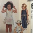 McCall's Sewing Pattern 4239 Toddlers Jumpsuit Sundress Romper Hat Sizes 1 2 3