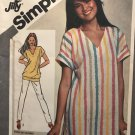 Simplicity 9903 Tunic or Top Jiffy Sewing Pattern Size 10-12 also would make a good swimsuit coverup