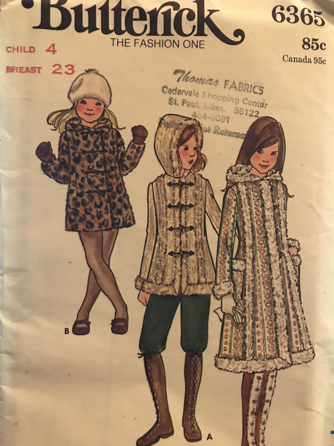 Butterick 6365 Children's Coat Sewing Pattern Size 4