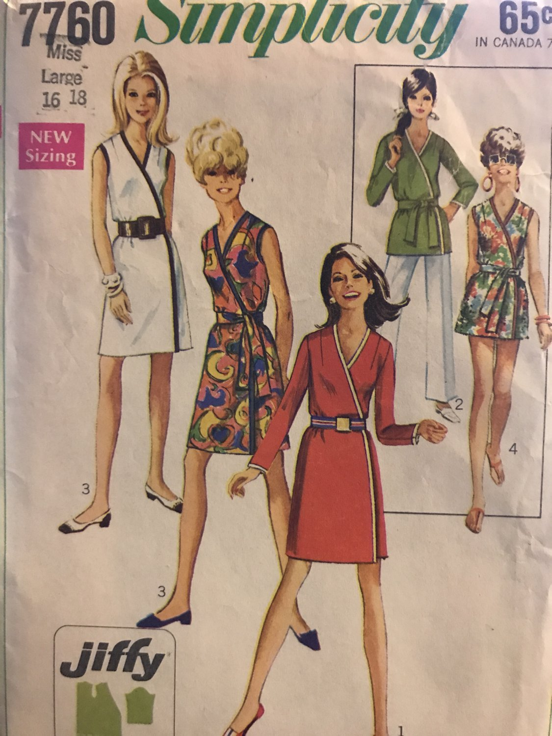 Simplicity 7760 Simple-To-Sew Misses' Jiffy Wrap-Dress or Top with Sash Size 16 18