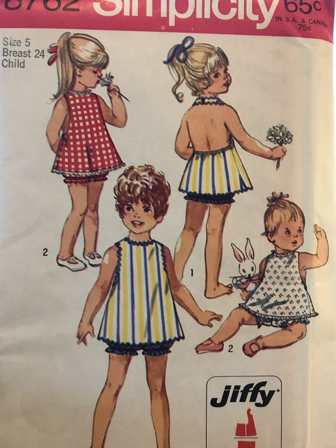 Simplicity 8762 Toddlers' Jiffy Halter Sundress & Bloomers Sewing Pattern Size 5 Breast 24
