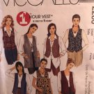 McCalls 2260 One Hour Vest Easy fitting unlined vests Size 8 10 Sewing Pattern