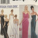 Simplicity 9124 Long Evening Prom Gown Slit Dress 6 8 10 12 sewing pattern