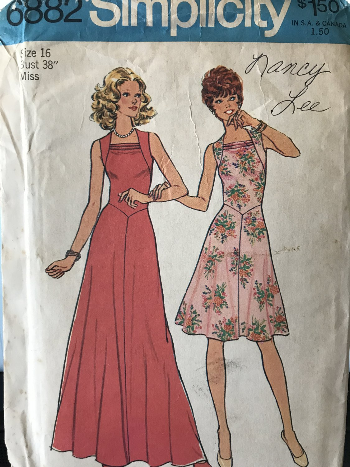 Simplicity 6882 Dress Sewing Pattern in two lengths 1970s Size 16 Bust 38