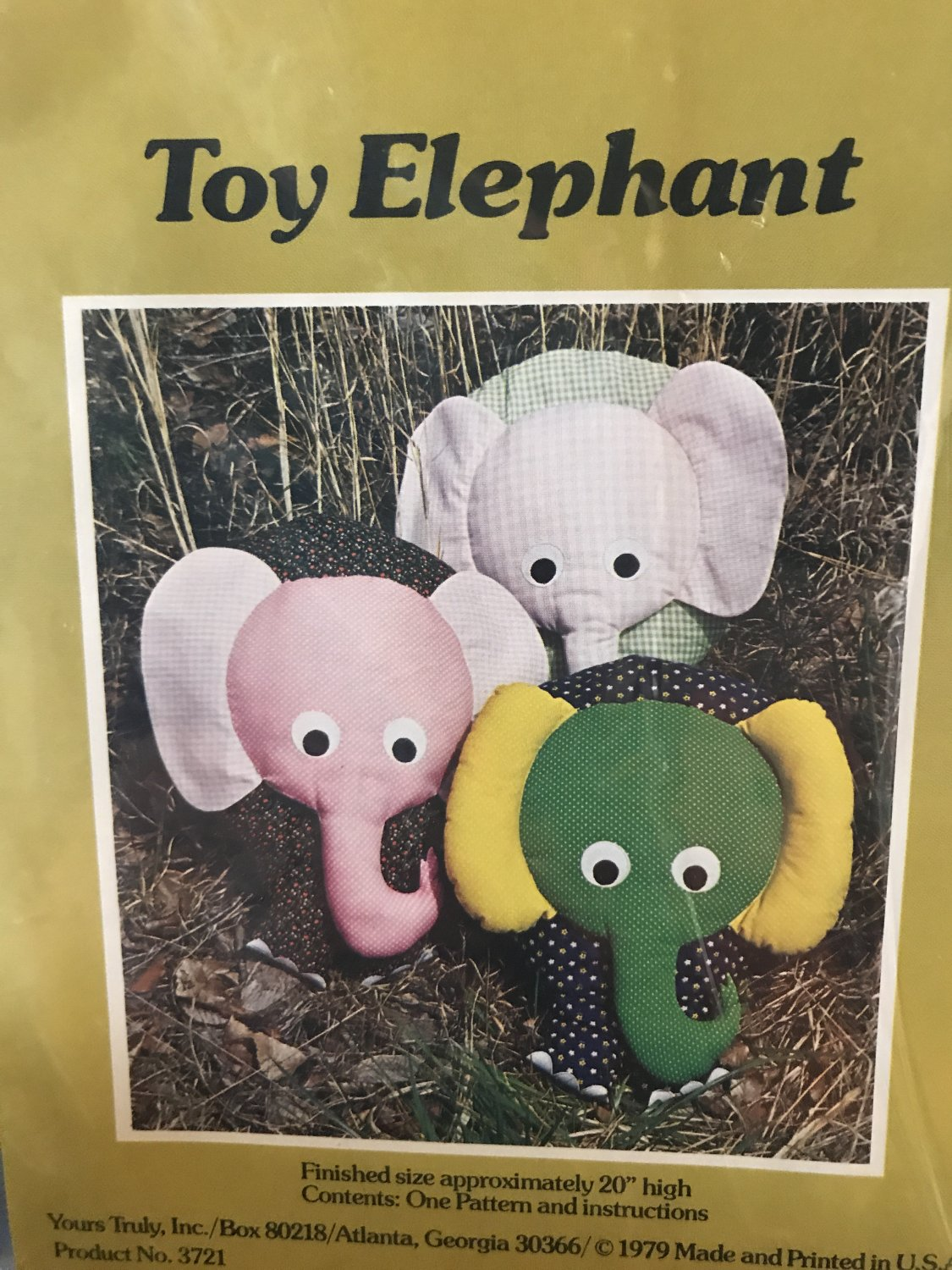 A Patchwork Pattern and Instructions for TOY ELEPHANT by Yours Truly Sewing Pattern