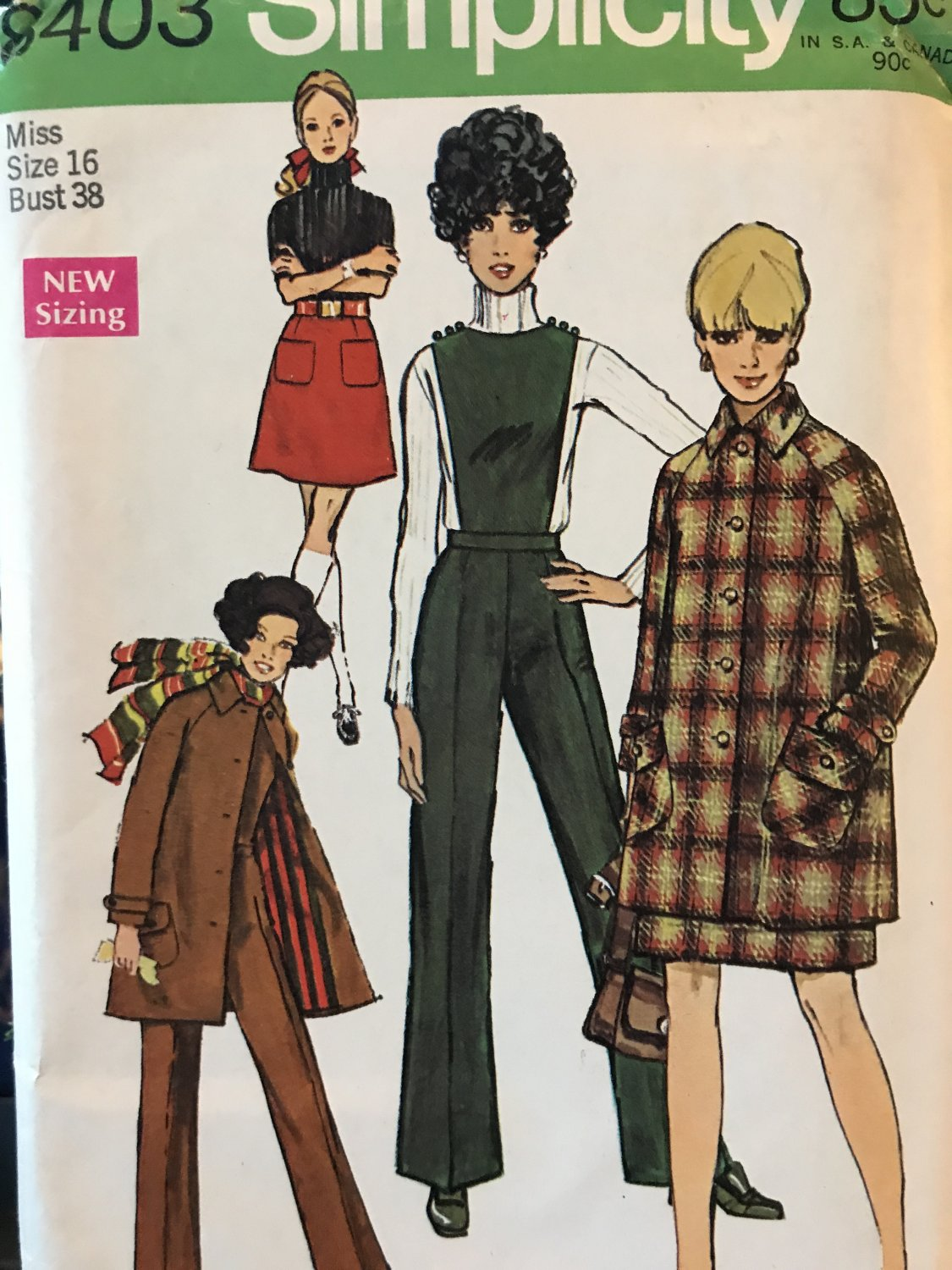 Simplicity 8403 Misses' Mini-Coat, Skirt and Pants with Detachable Bib Sewing Pattern Size 16