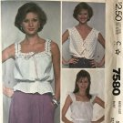 McCall's 7580 Misses' Camisole 3 variations size 8 bust 31 1/2 sewing pattern