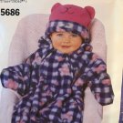 Butterick Sewing Pattern 5686 Baby Bunting and Animal hat size newborn to 23lbs