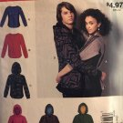 McCalls M9166 9166 Misses Mens Jacket Hoodie Pullover Sewing Pattern  Size SM Med LG UNCUT