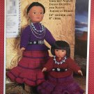 "World Friends Navajo Indian Dress outfits 14"" mother 8"" Child Crochet Pattern Fibre Craft FCM179"