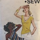 Kwik Sew 823 Misses Pullover Tops V Neck or One Shoulder Sewing Pattern Size XS S M L Bust 31 - 41