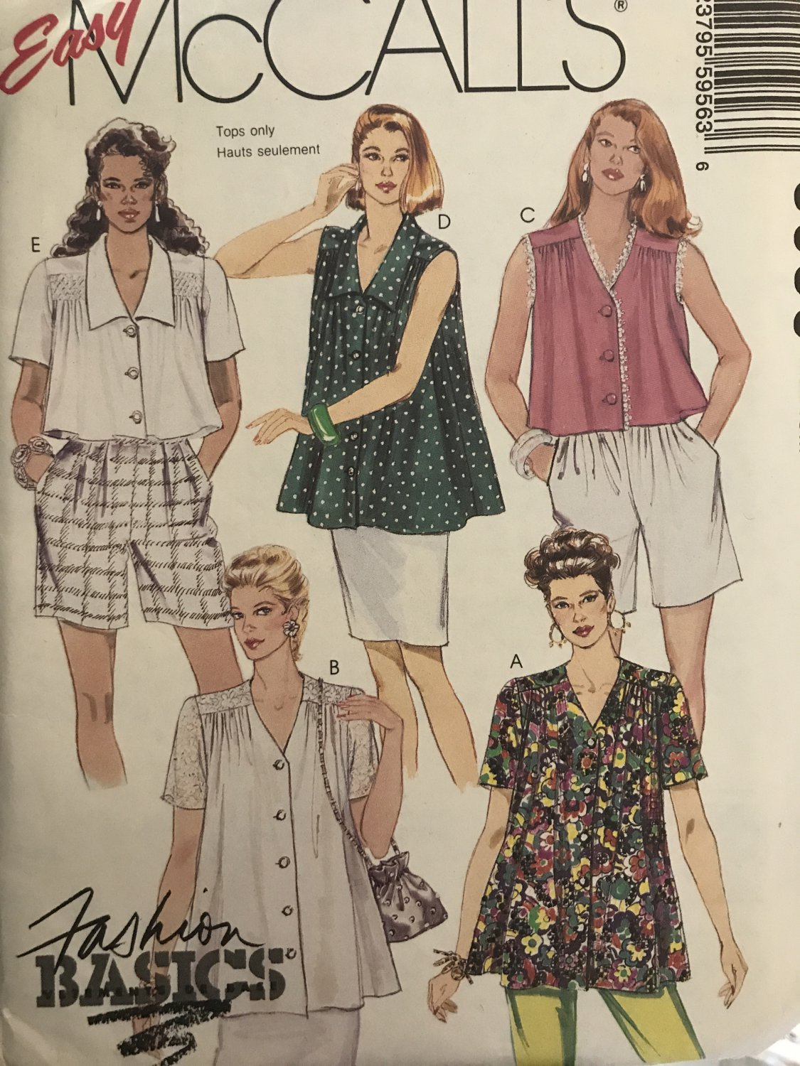 McCalls 5956 Misses Smock Top in two lengths Sewing Pattern Size 14 16