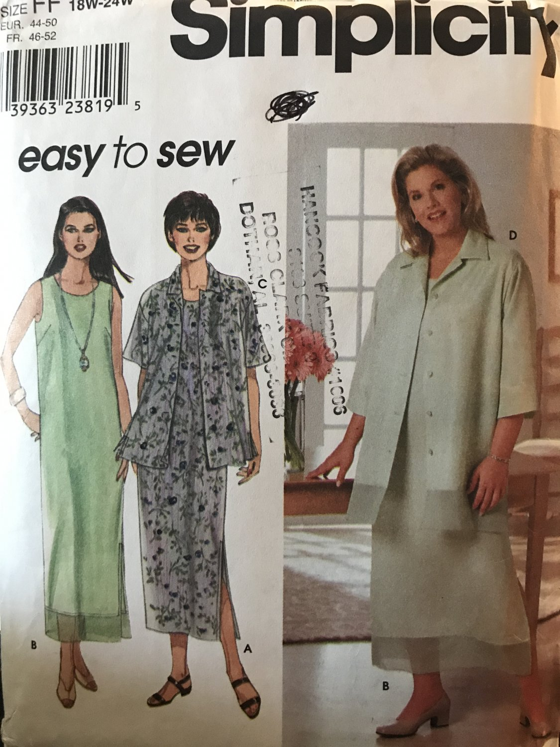 Simplicity 9135: Women's Dress and Jacket Plus Sizes 18W-24W Sewing Pattern
