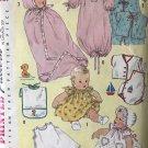 Simplicity 1443 Infant Layette, Bunting, Kimono, slip,..Vintage, Circa 1950's