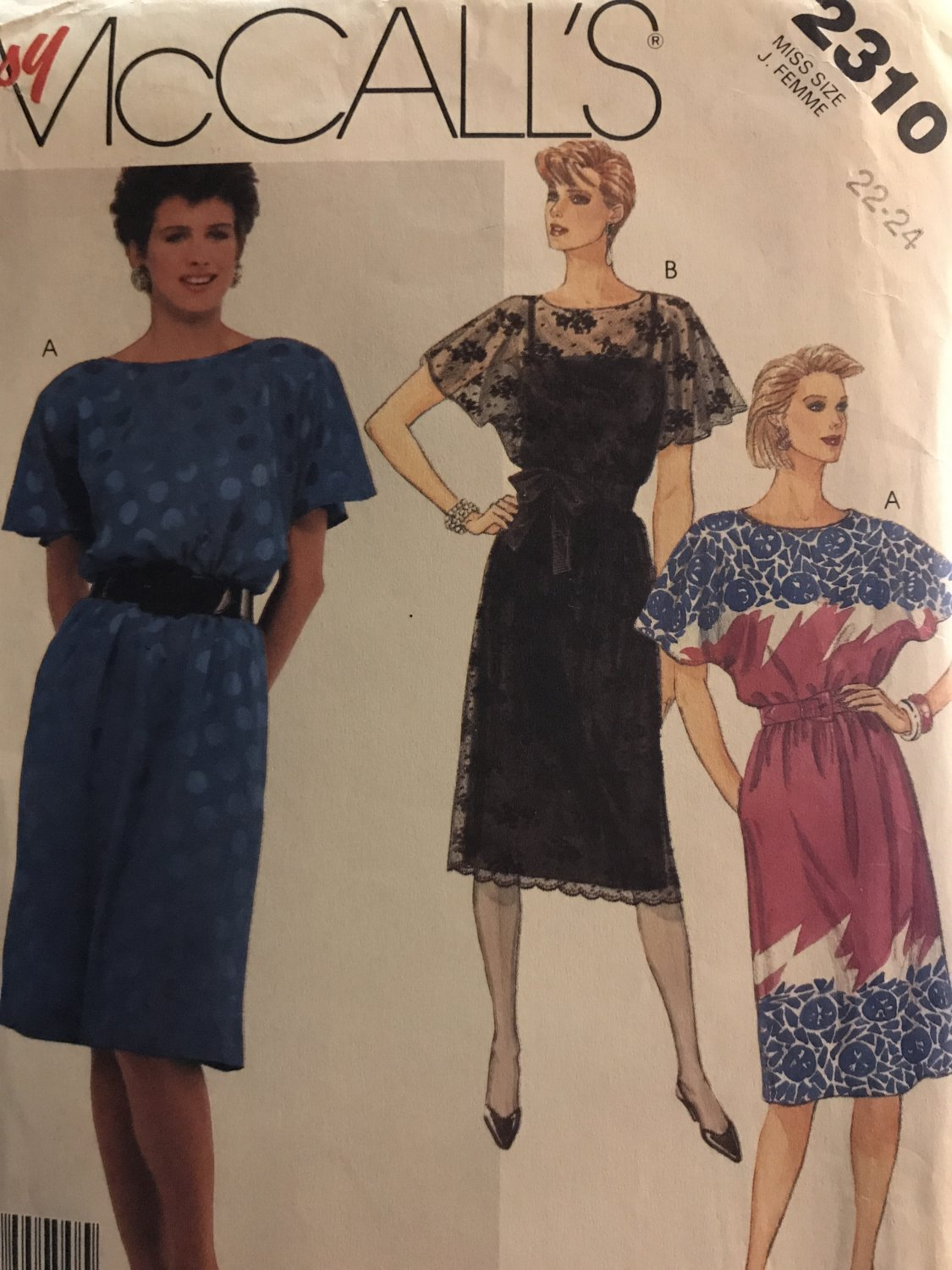 McCall's 2310 Misses Pullover Dress and slip sewing pattern size 22-24