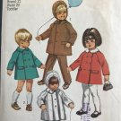 Simplicity 9042 Toddlers' Coat With Detachable Collar, Hood, And Pants Sewing Pattern size 2