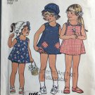 Girls Reversible Dress Hat Bikini Panties Simplicity 6951 Vintage Sewing Pattern Size 4