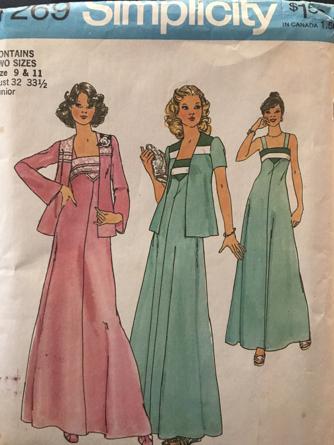 Simplicity 7269 Juniors' prom evening Dress and Unlined Jacket sewing Pattern Size 9 & 11