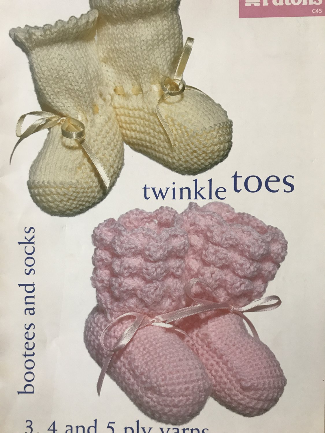 Bootees Booties and Socks Patons Twinkle Toes knitting pattern 23 projects including Mary Janes