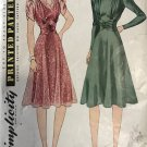 Simplicity 3389 MISSES' AFTERNOON DRESS 1940's Sewing Pattern size 14 bust 32