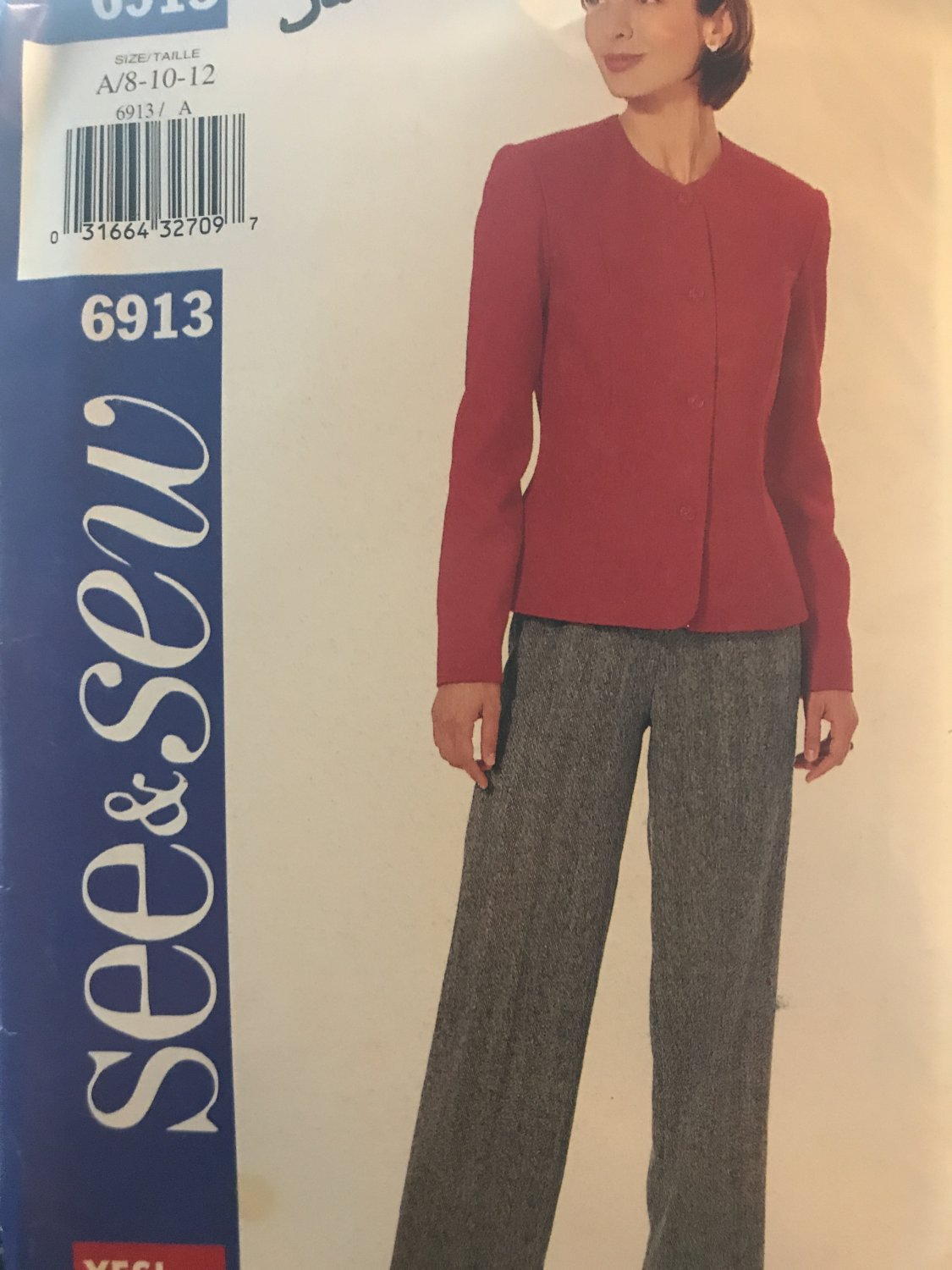 Butterick 6913 See & Sew Jacket and Pants sewing Pattern Size 8 - 10 - 12