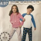 McCalls 9585  Sew Simple Childrens' Girls Boys Loungewear Sewing Pattern XXS to Lg