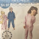 McCalls 9587 Sew Simple Childrens' Girls Boys Sleeper Footie PJS  Sewing Pattern XS to XLg