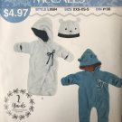 McCalls 9584  Sew Simple Fleece Bunting & Hat baby toddler Sewing Pattern XXS to S