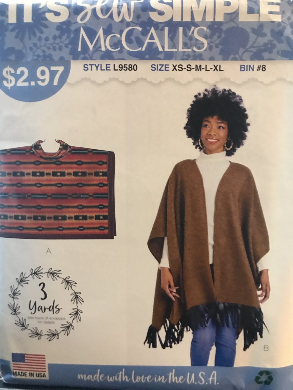McCalls 9580 Misses Ponchos sizes XS to XL Sewing Pattern