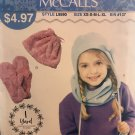 McCalls 9590 Sew Simple Childrens' Hat Mittens Cowl Bag Sewing Pattern size XS - XL
