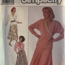 Simplicity 9502 Misses' Pull On Mock Wrap top Pull On Skirt With Pockets Sewing Pattern All sizes