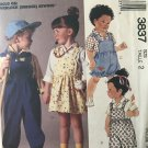 McCalls 3837 Childs overalls top shortall jumper sewing pattern size 2