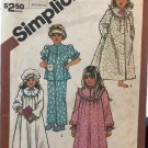 Simplicity 5747 Child's Nightgown, Pajamas, Robe and Hat Sewing Pattern size Medium 3 4
