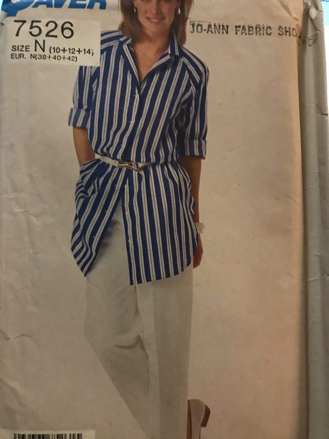 Simplicity 7526 Misses Easy to Sew Shirt and Pants Sewing Pattern Size 10 12 14