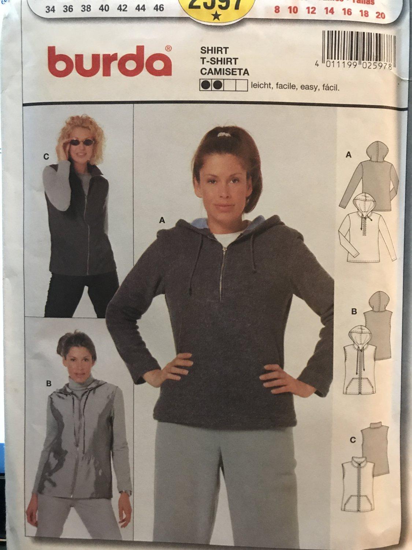 Burda Sewing Pattern 2597 Hoody Hoodie Sweatshirt Top or Vest Pattern Sizes 8 - 20 Sewing Pattern
