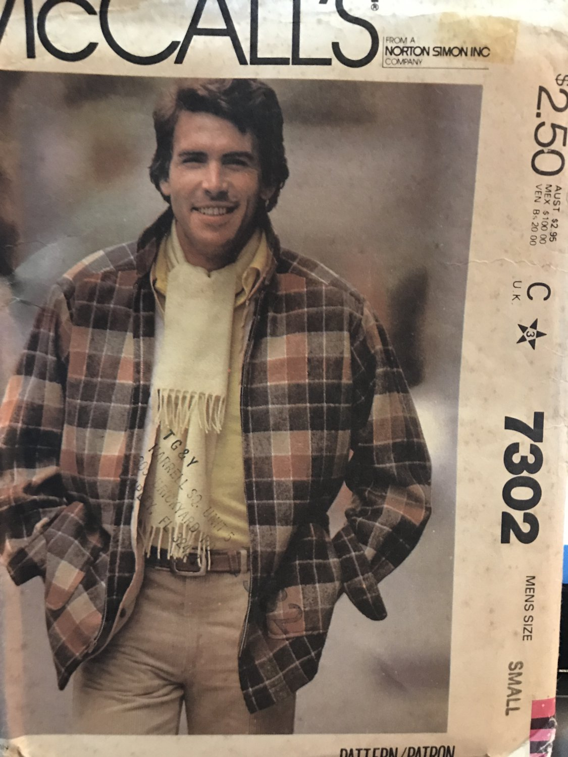McCall's 7302 Men's Jacket Bomber Style Sewing Pattern size Small 34 - 36 chest