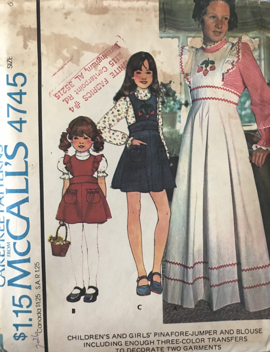 McCall's 4745 Children's and Girls' Pinafore Jumper and Blouse Sewing Pattern size 6