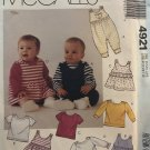McCalls 4921 Infants Jumpers Jumpsuit Romper or Tops Sewing Pattern size Newborn to 32 lbs.