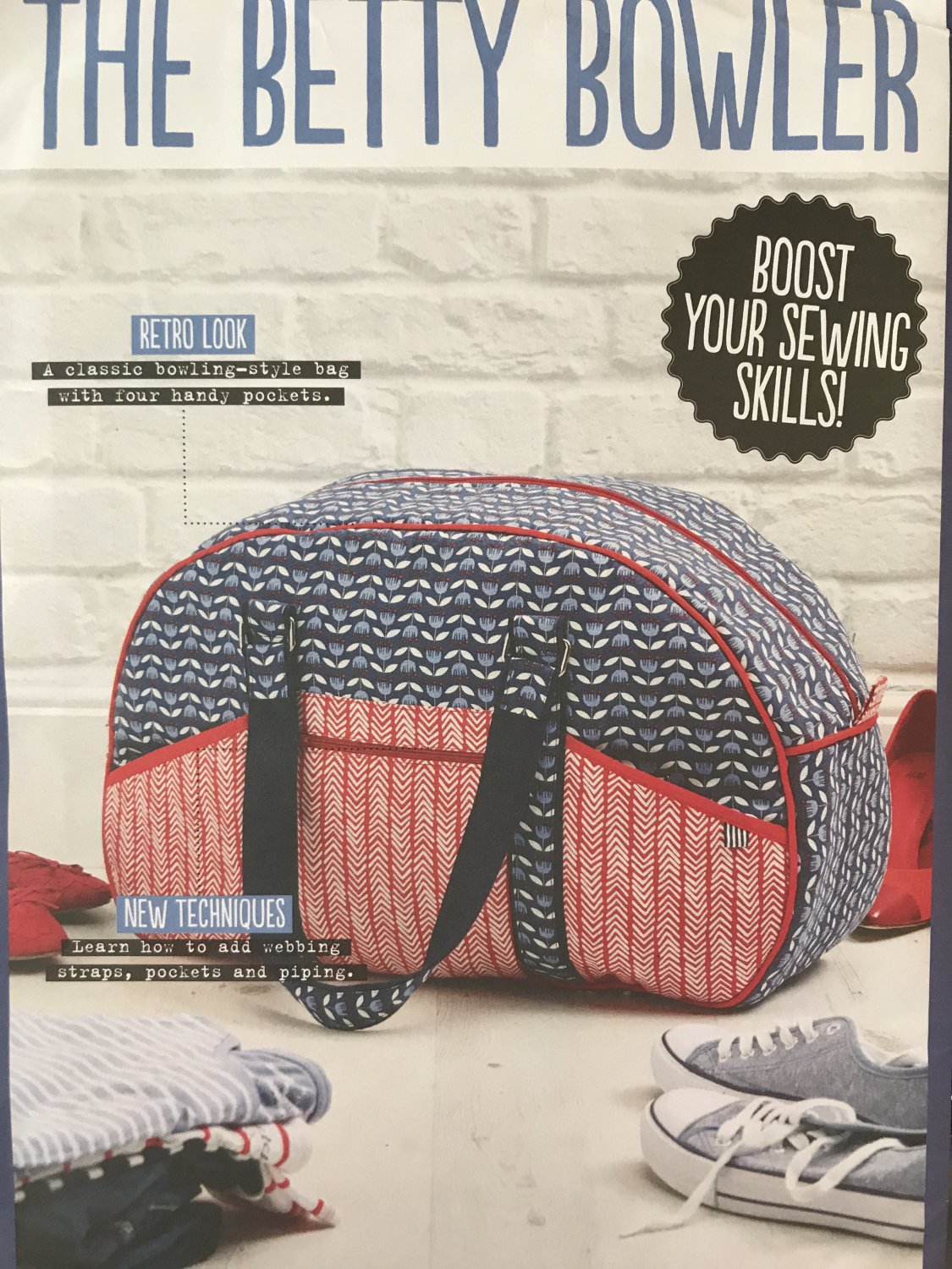 The Betty Bowler Retro Look bowling-style bag Simply Sewing Pattern uncut.