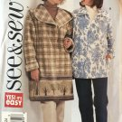 Butterick 3695 Sewing Pattern Misses' Jacket with Optional Hood, Winter Coat, Size 20 22 24