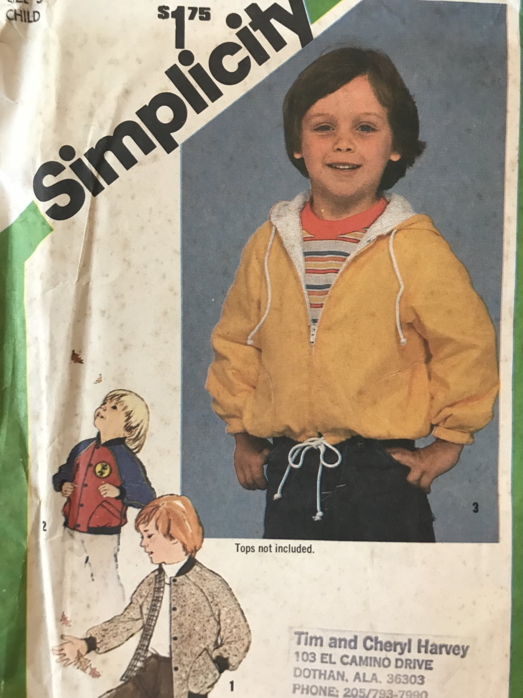Childrens Zip Up Hoodie raglan sleeve coat jacket toddler sewing pattern Simplicity 9818 Size 5