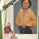 Childrens Zip Up Hoodie raglan sleeve coat jacket toddler sewing pattern Simplicity 9818 Size 5