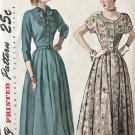 Vintage Sewing Pattern Simplicity 2400 Misses' One-Piece Dress from 1948 Size 14 Bust 32