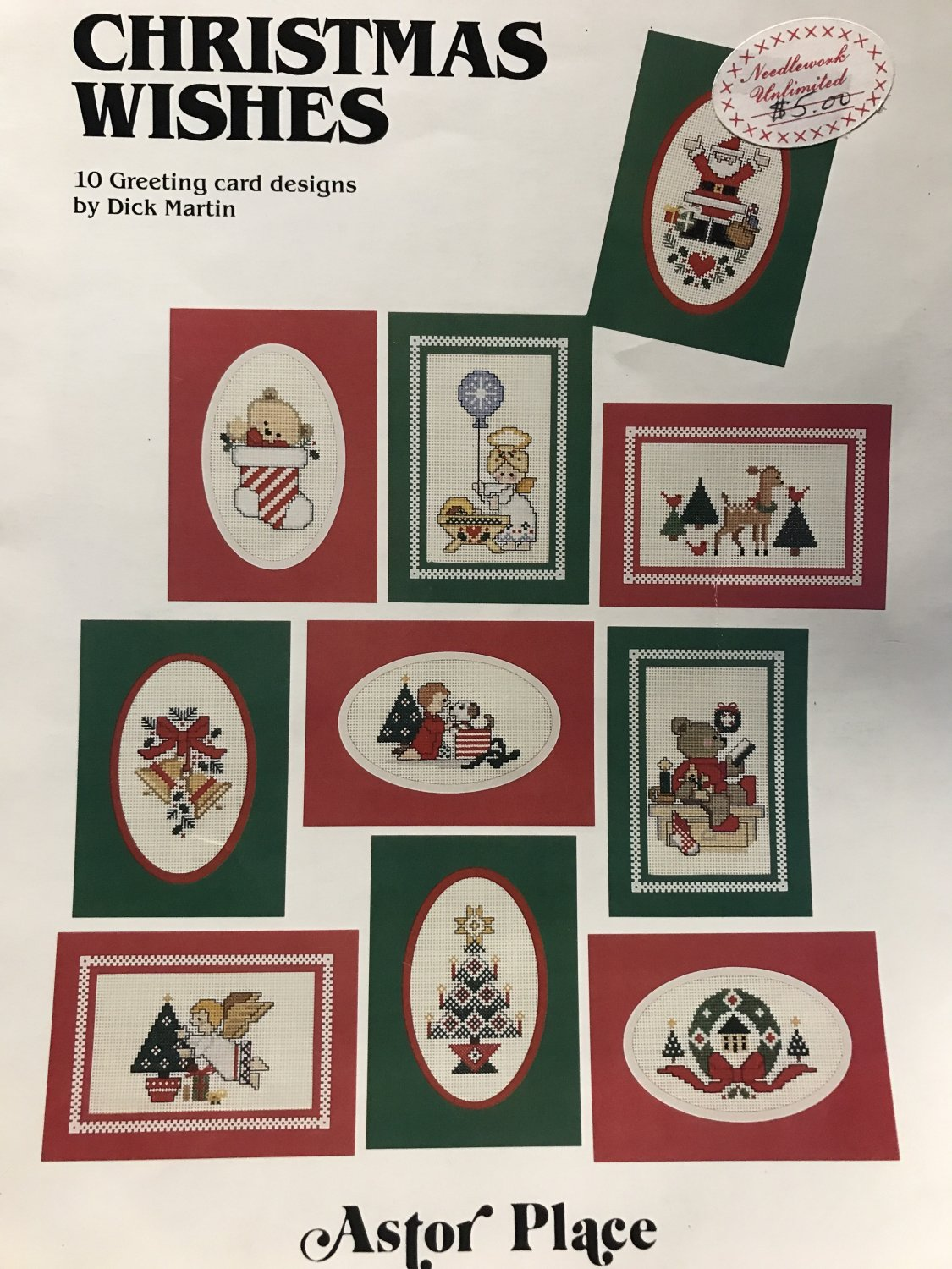 Cross Stitch Pattern Christmas Wishes by Dick Martin for Perforated Paper Christmas Cards book 15