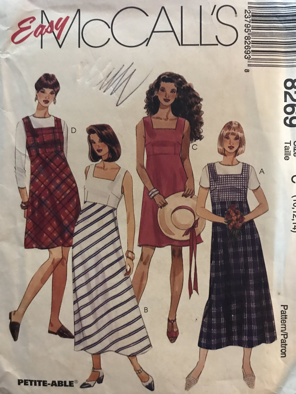 McCalls 8269 Summer Dress or Jumper size 10 12 14 Sewing Pattern