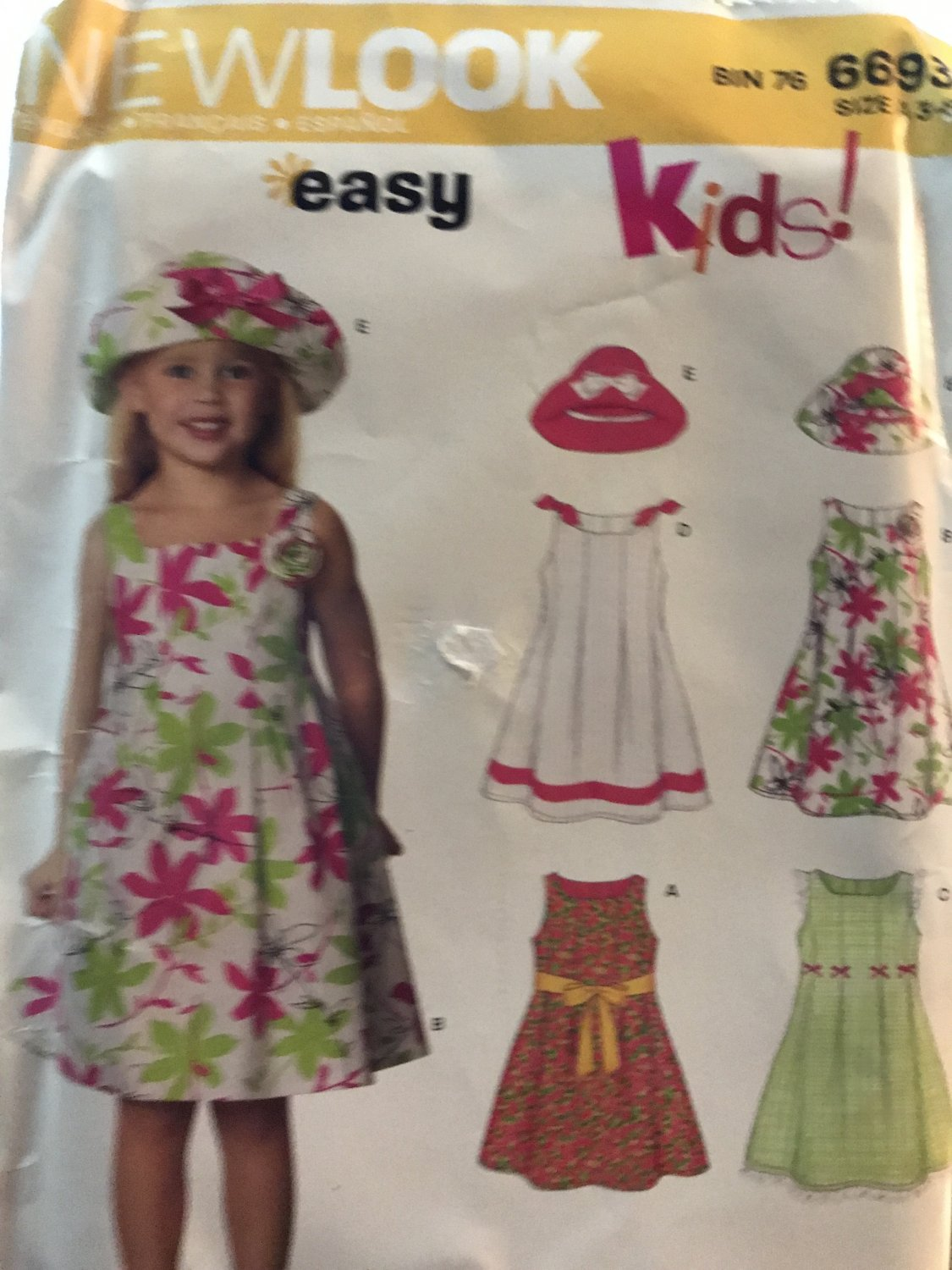 New Look 6693 Girl's Dress and hat Size 3 - 8 sewing pattern