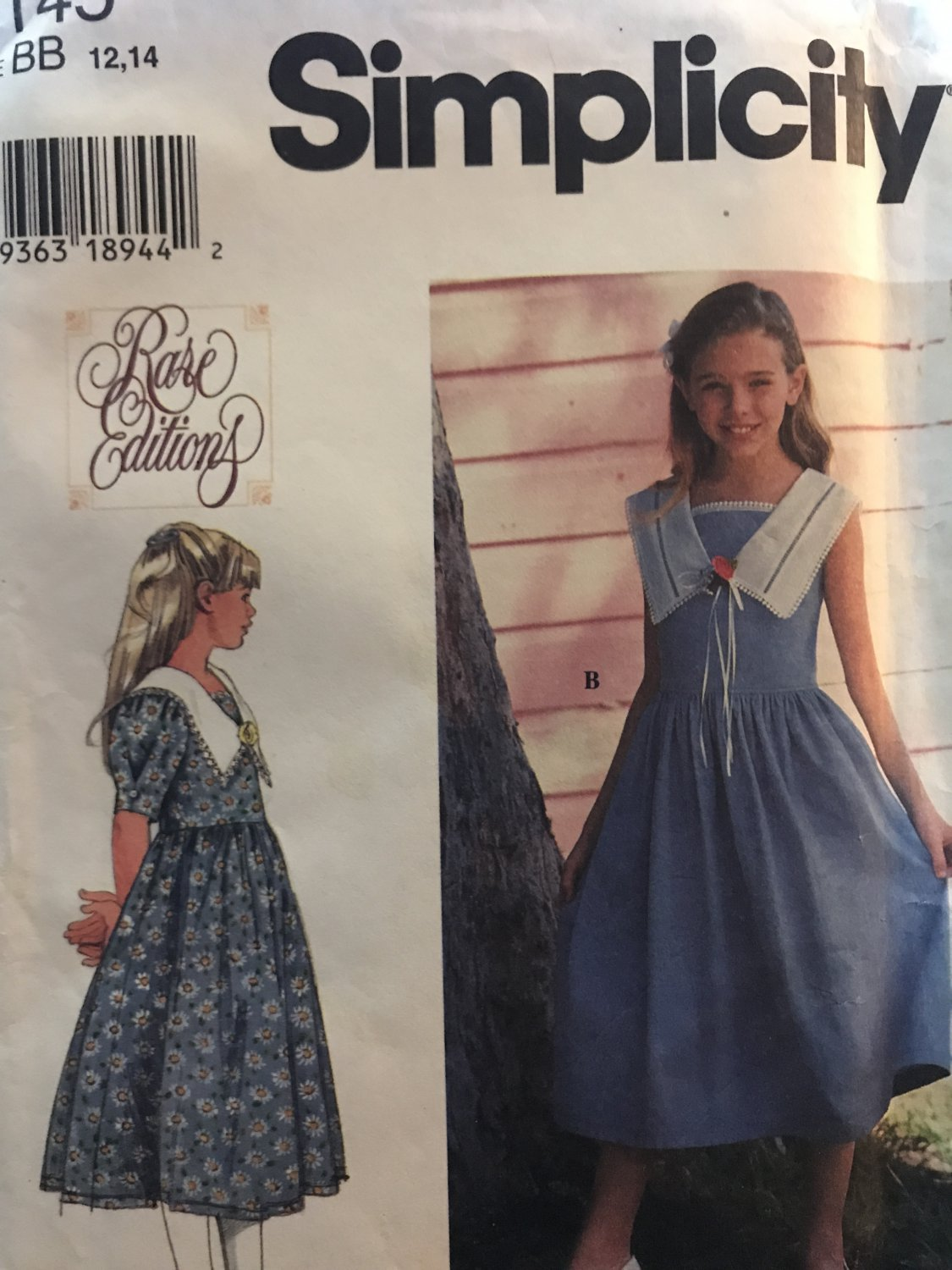 Simplicity 7145 Girls' Dress with Sleeve variations, front inset size 12, 14 Sewing Pattern