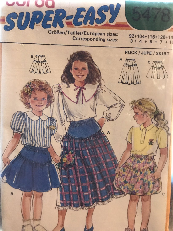Burda 5478 Child's skirt pattern in 2 lengths, elastic waist sewing pattern sizes 3-10